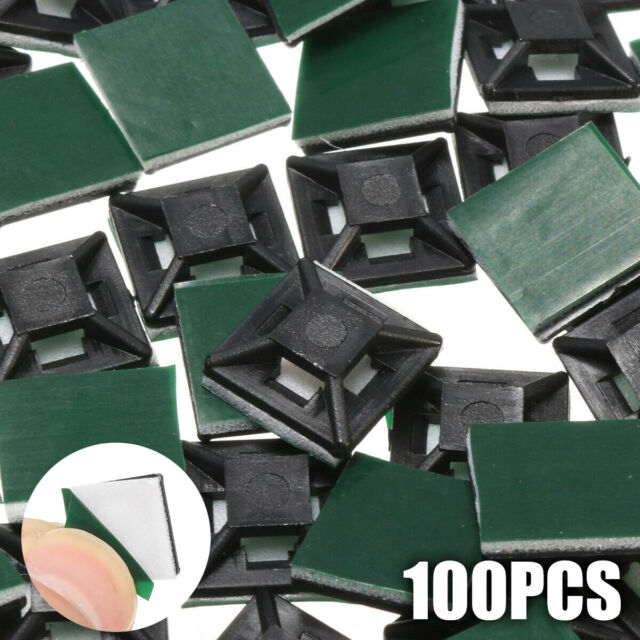 UK 100pcs Sticky Base Pad Self Adhesive Cable Wire Square Tie Mounts Cord Clips