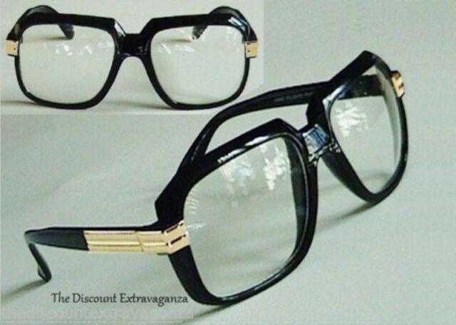 73d1326b215 Clear Lens Retro Gazelle DJ Hip Hop Square Black Frame Sun Glasses Gold  Accents