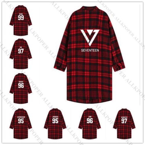 Kpop dix-sept Plaid Rouge Chemise femme à manches trois-quarts surchemise chemisier manteau