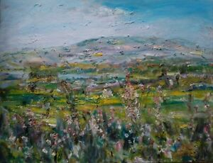 ORIGINAL-SIGNED-Penhill-Willowherb-Wensleydale-YORKS-DALES-OIL-PAINTING-CANVAS