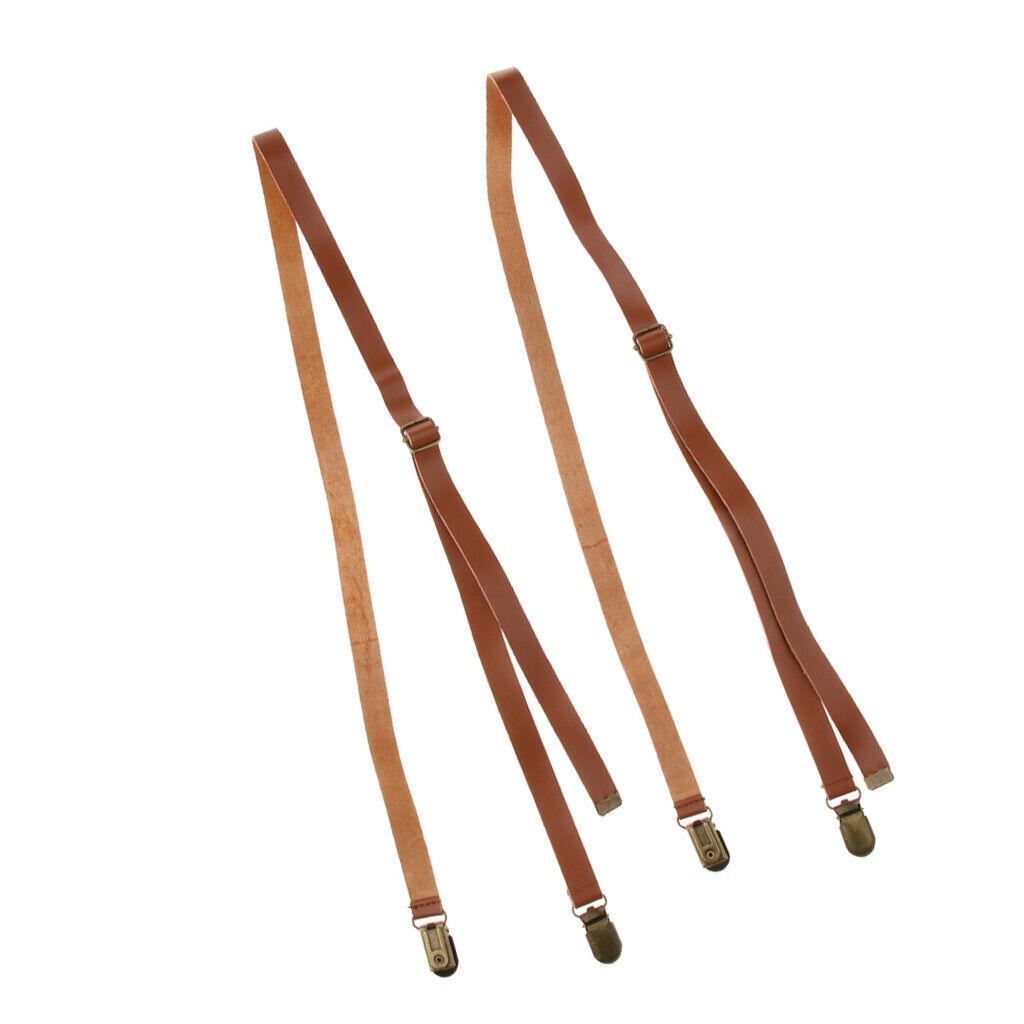 Mens Suit Shirt Braces Metal Clip-On Adjustable Genuine Leather Suspenders