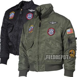 Kinder-US-Pilotenjacke-CWU-oliv-schwarz-mit-Fliegerabzeichen-TOP-GUN