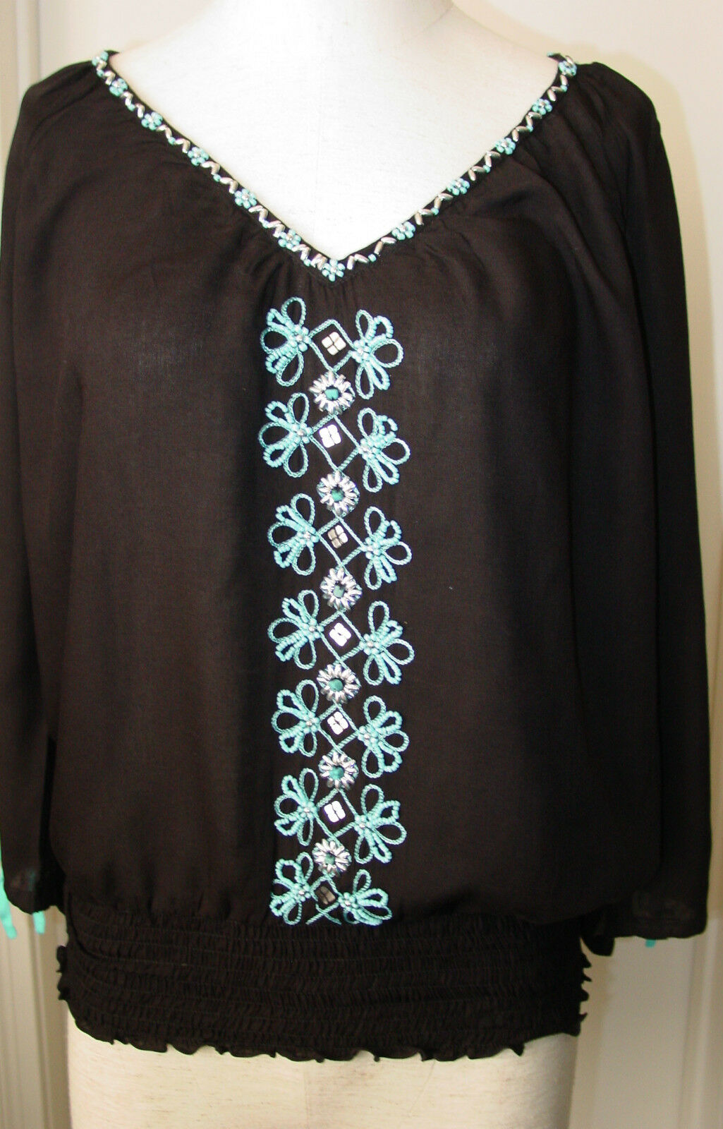 Woherren Top Blouse schwarz Turquoise Cold Shoulder Krista Lee Montego Bay Elastic