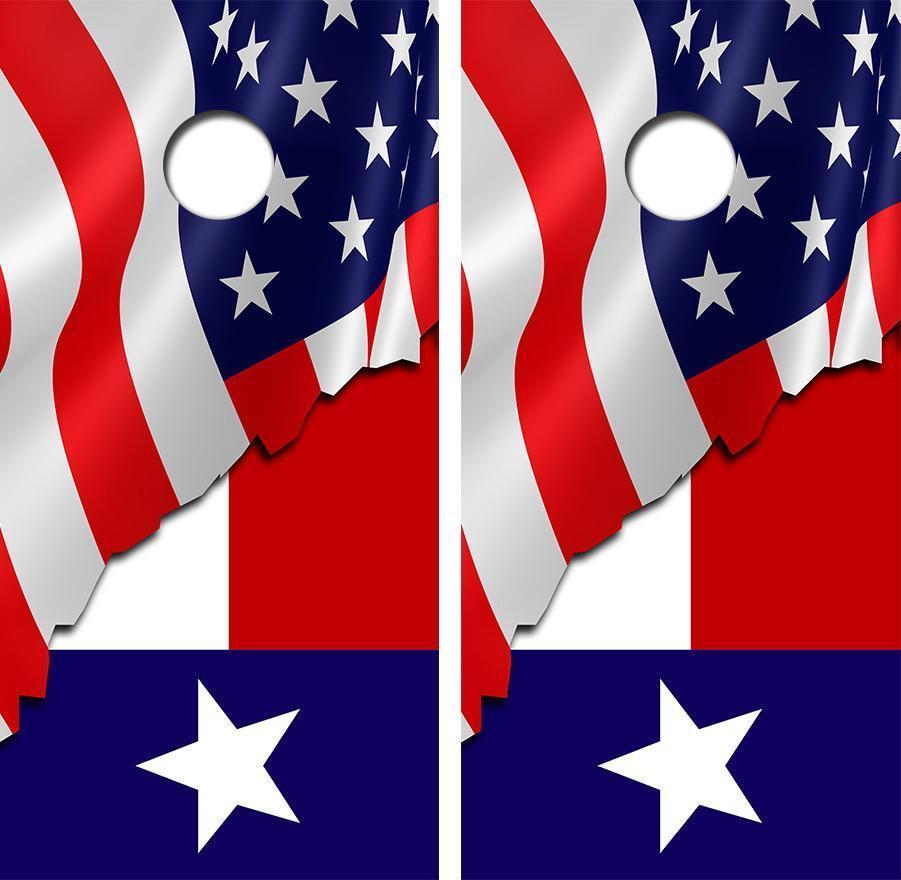 American  Teaxs Flag Cornhole Board Decal Wrap FREE Laminate  sale with high discount