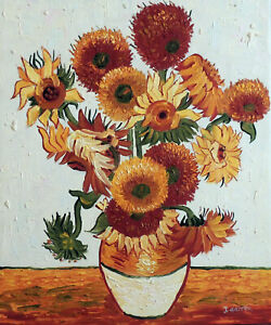 Sunflowers Vase Van Gogh Repro Still Life Stretched 20X24 Oil Painting STRETCHED