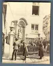 Belgium, Bruxelles, Manneken-Pis Fountain  Vintage citrate print.  Tirage citr