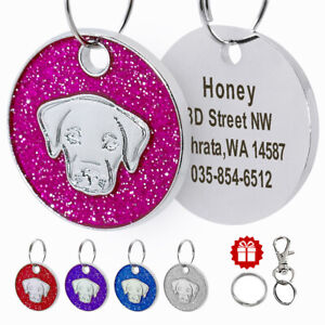 Personalized-Dog-ID-Tags-Glitter-Round-Tag-Engraved-Custom-Labrador-Head-for-Pet