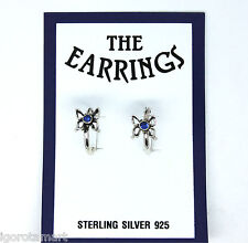 LADY GIRL'S HOOP RING .925 STERLING SILVER ROYAL BLUE FLOWER EAR STUD EARRINGS