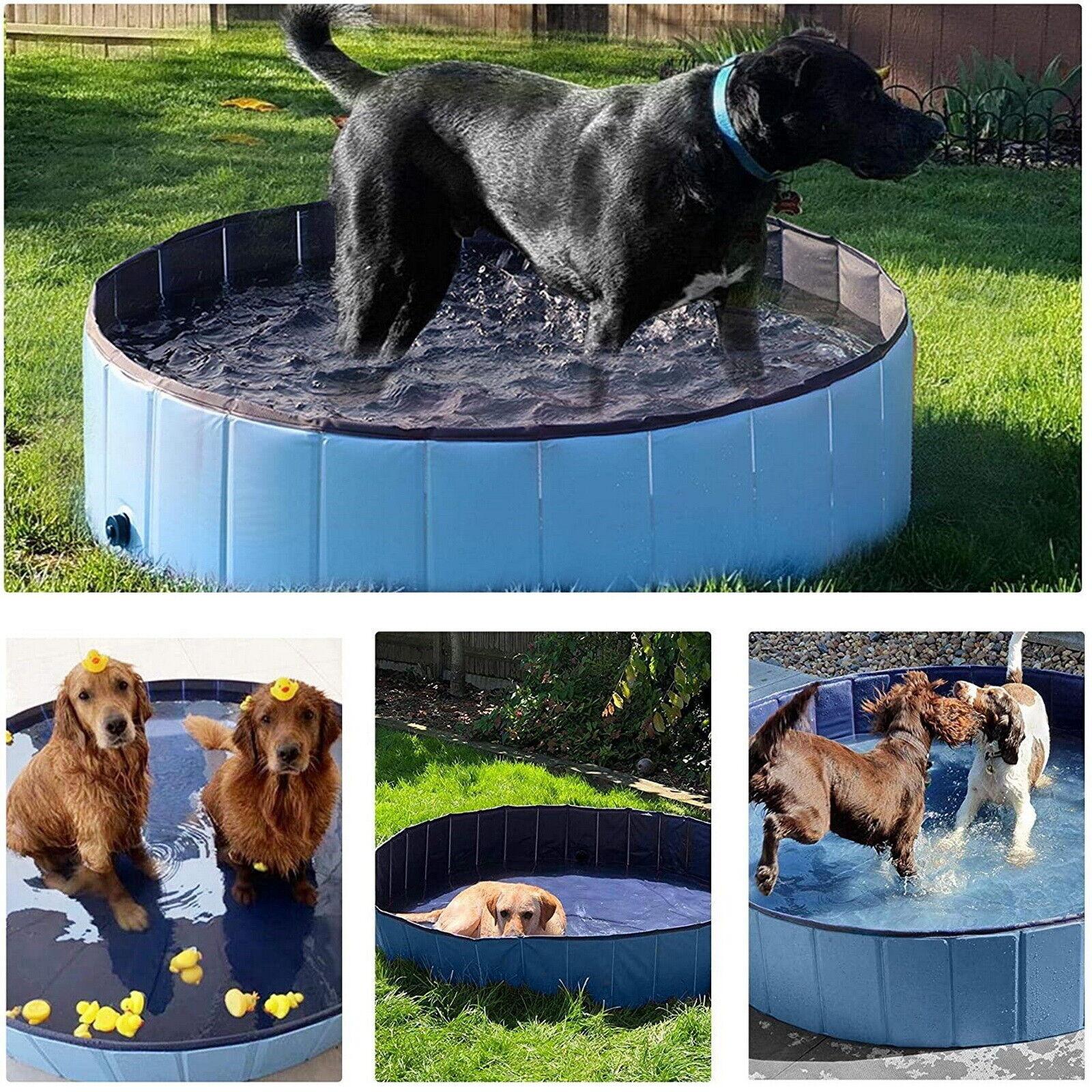 163cm Foldable Dog Paddling Pool Pet Puppy Swimming Bathing Wash Tub PVC Bathtub