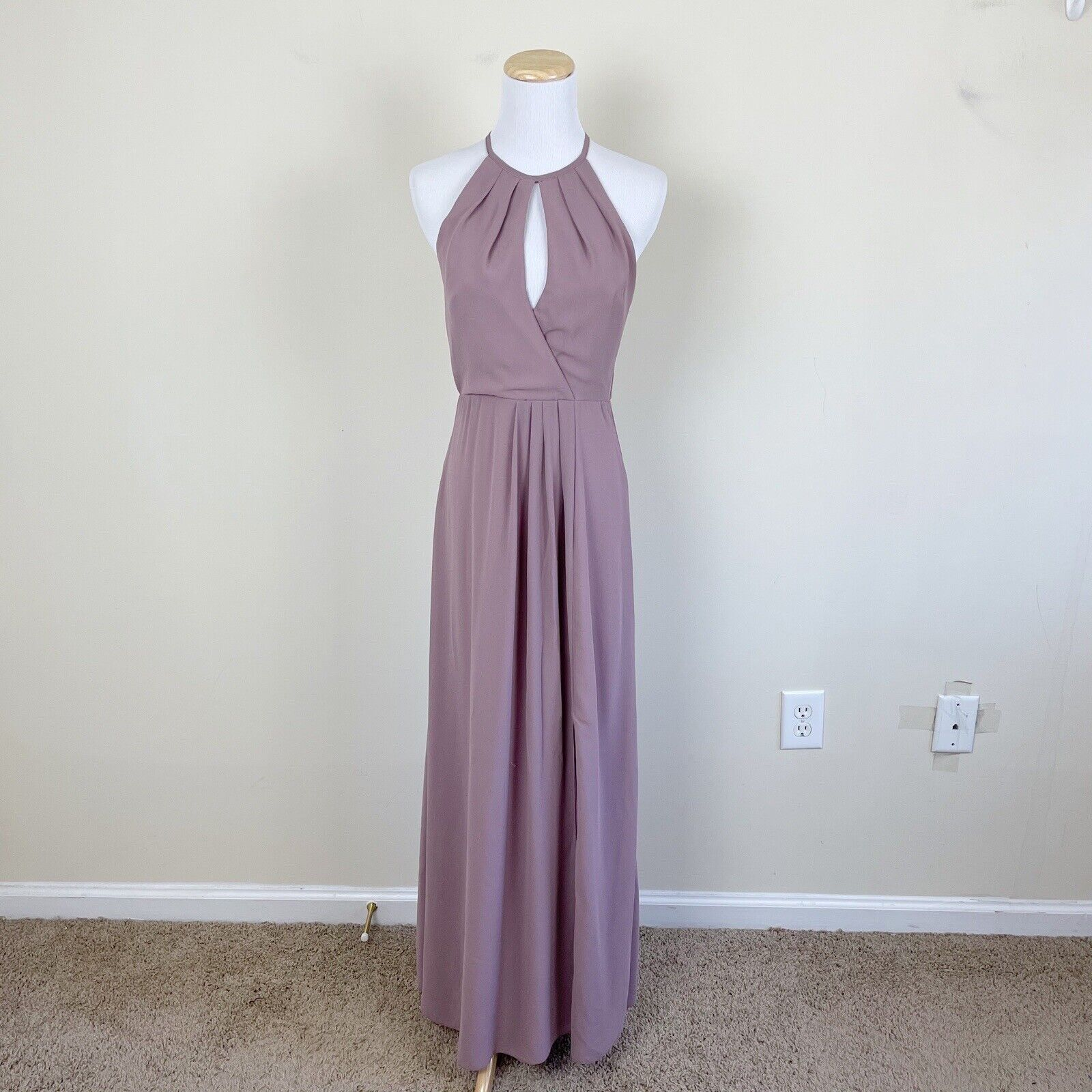 BHLDN x Anthropologie Marco Rose High Neck Formal Long Sleeveless Dress Size XS