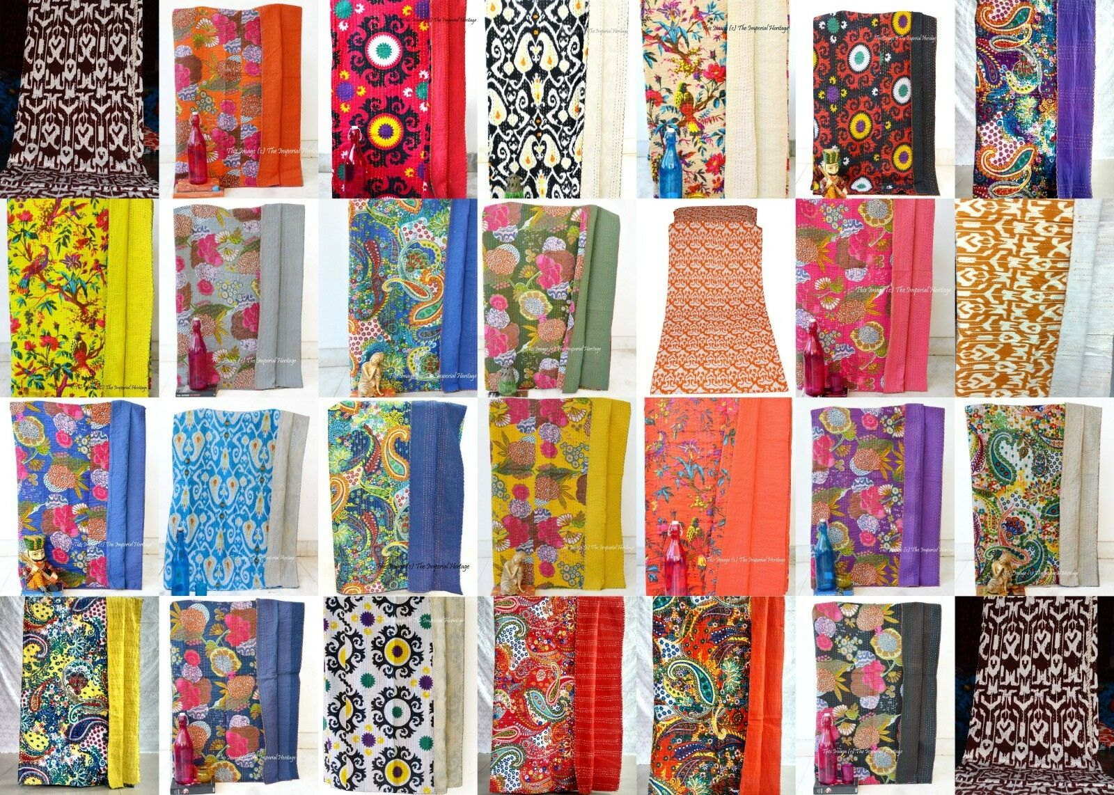 Indian Handmade Cotton Kantha Blanket Quilt Throw Twin-Bed-Cover