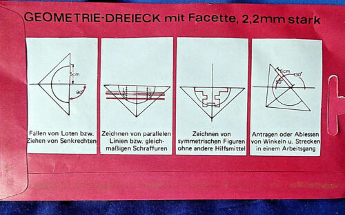 OVP Nr Art H /& K Geodreieck Vintage 545555 transparent,alt aber unbenutzt