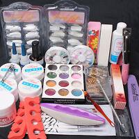 Pro Nail Art Diy Set Uv Gel Brush Nail Half Tip Glue Cuticle Fork Glitter Powder