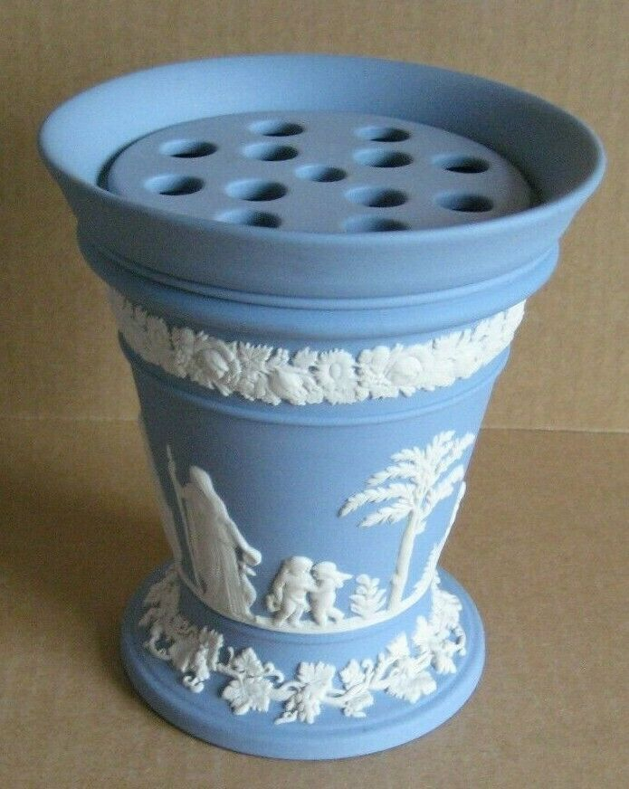 Image 1 - Wedgwood Jasperware Blue Flower Vase with Frogger