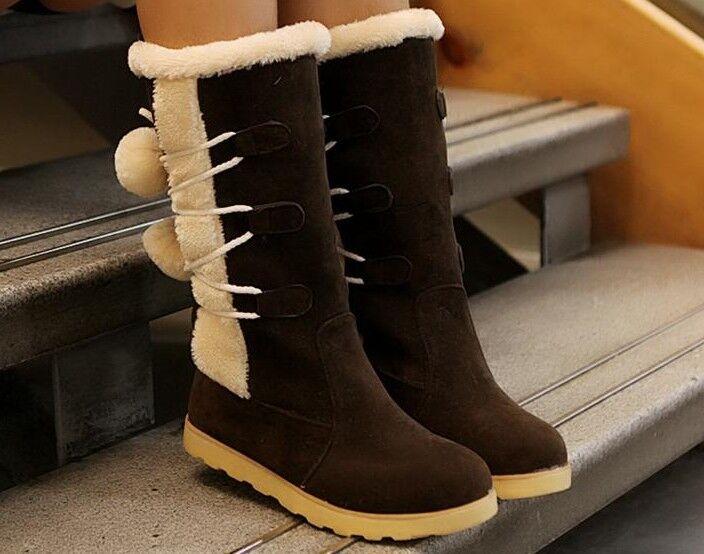 Bottes Chaussures Bcourir Chaudes Talon 1 cm Cuir Synthetique Confortable 9154