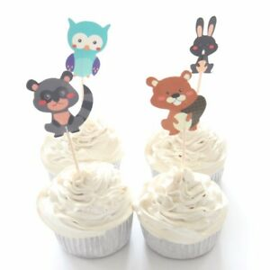 Outstanding 12 X Woodland Creatures Cake Picks Cupcake Toppers Kids Funny Birthday Cards Online Alyptdamsfinfo