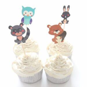 Fine 12 X Woodland Creatures Cake Picks Cupcake Toppers Kids Birthday Cards Printable Giouspongecafe Filternl