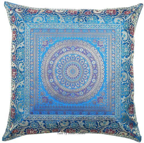 Türkisblau Mandala Seide Brokat Überwurf Kissenbezug Sofa Dekor 40.6cm