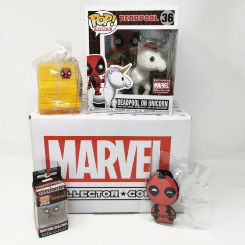 Funko Marvel Collector Corps Deadpool on Unicorn #36 Funko Pop Vinyl *Complete