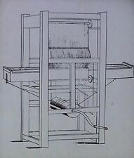 Cartwright's Loom, 1785, Magic Lantern Glass Slide, (From Patent Drawing)