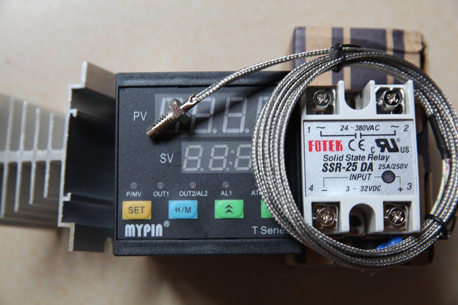 Dual F C96WX96HX80L Temperature Controller TA9-SNR + K Sensor+ 25A SSR+Heat Sink