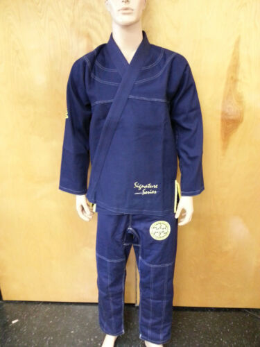 Woldorf USA BJJ uniform Pearl Weave Gi competition navy blue with yellow