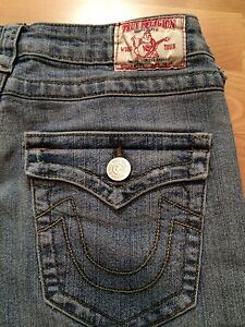 TRUE-RELIGION-WOMENS-503-BOOT-CUT-TWISTED-LIGHT-DENIM-JEANS-SZ-W26-L28