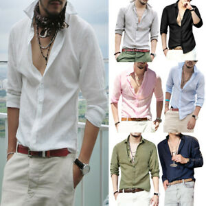 New-Mens-039-Long-Sleeve-Casual-Shirts-V-Neck-Slim-Fit-Stylish-Dress-Shirts-Tops