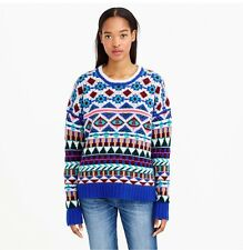NWT J Crew COLLECTION CASHMERE GRAPHIC FAIR ISLE SWEATER XXXS