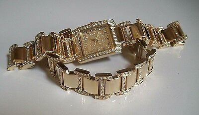 GOLD FINISH HIP HOP BLING GENEVA MEN'S CLEAR CRYSTAL WATCH AND BRACELET SET