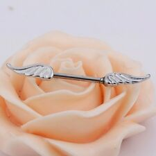1 x Beautiful Stainless Steel Silver Nipple Ring Bar With Double Angel Wings