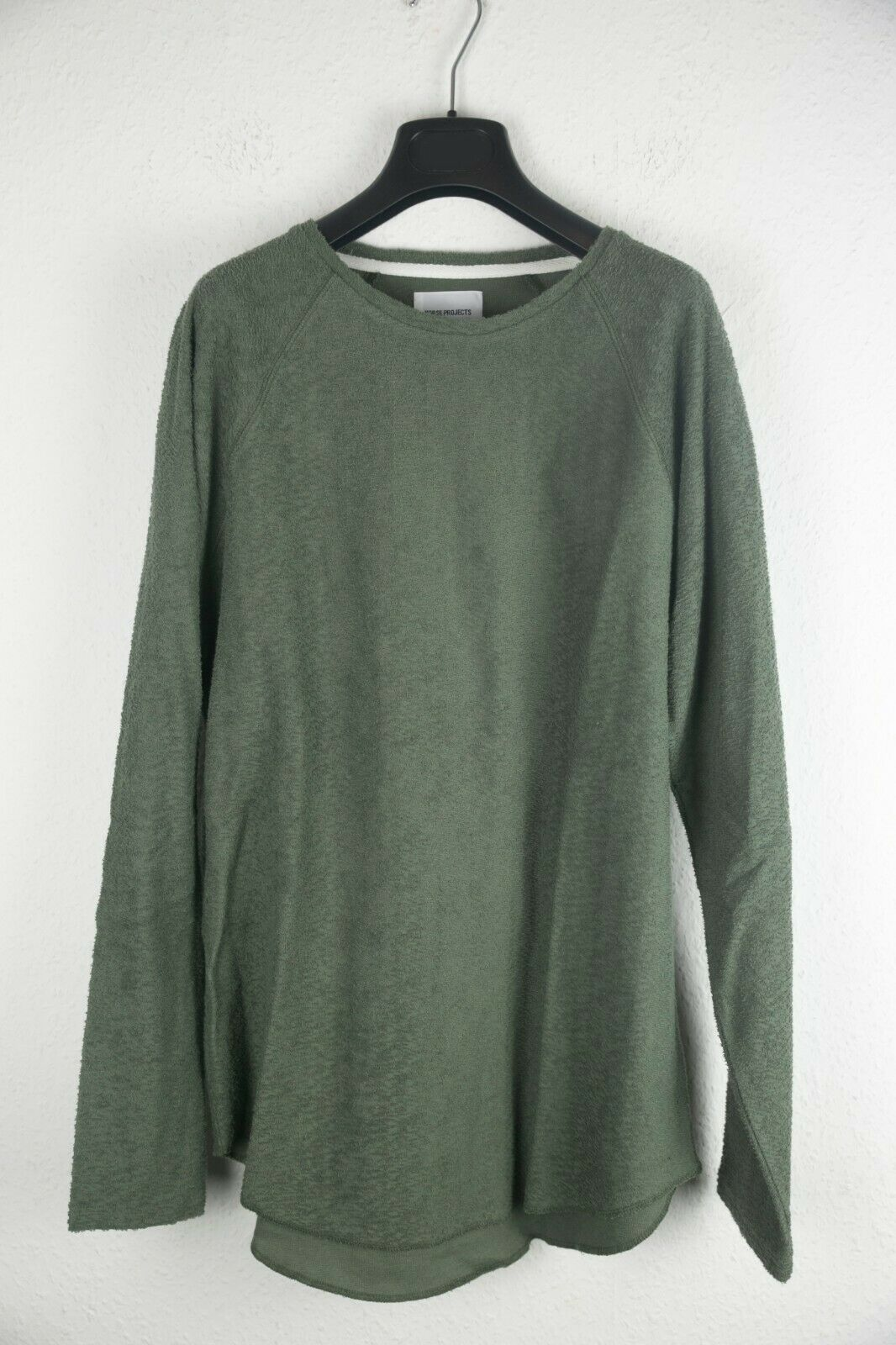 NORSE PROJECTS ASKE SLEEVE TEXTURED JERSEY LS Langarm Raglan Shirt OLIVE green  L