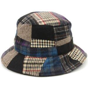 03e96bb23a3 Tweed Bucket Hat Hawkins Patchwork Wool BLUE RED 4 Sizes Fisherman ...
