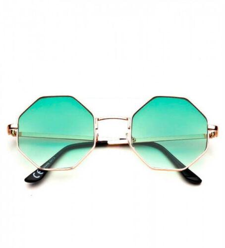 Damen Achteck Sonnenbrille Metallrahmen Retro Spiegel Farbe Linse Gold