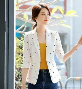 Women-Slim-Fit-Blazer-Coat-Korean-Style-Formal-Career-OL-Jacket-Work-Solid-Sbox4