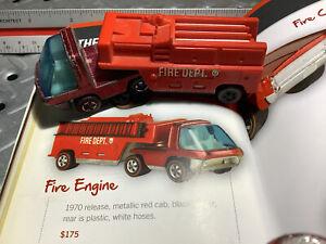 1970 Hotwheels Original The Heavy weight Fire Engine Redline
