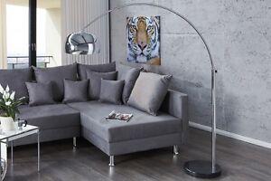 Lampada ad arco piantana argento cromato marmo late lounge design