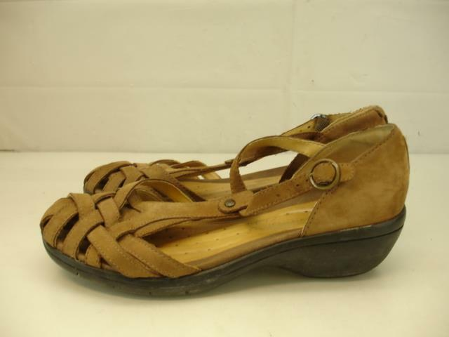 Clarks Unstructured Womens 8 M Un.Helm T-Strap Tan Leather Sandals Woven Wedge