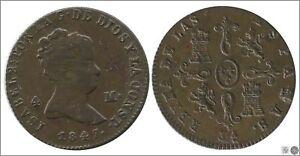 Spanien-Isabel-II-EBC-XF-4-Maravedis-1847-Jubia-Cu