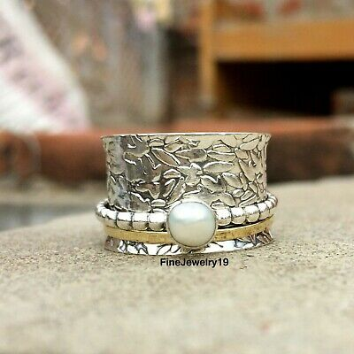 Pearl Ring Solid 925 Sterling Silver Spinner Meditation Statement Jewelry A443