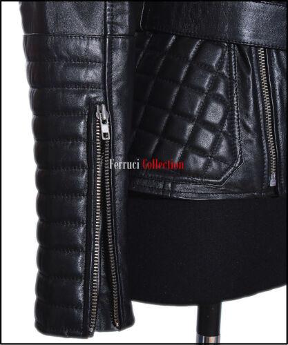 Shakira Black Ladies Retro Catwalk Real Lambskin Leather Military Fashion Jacket