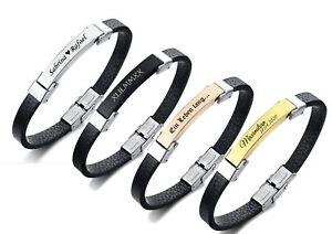 ID Leder Armband schwarz mit Edelstahlplatte + Gravur nach Wunsch 4 Farben 21cm