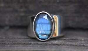 Faceted-Labradorite-Gemstone-925-Sterling-Silver-Artisan-Handmade-Gift-Ring