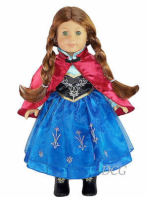 AFW FROZEN INSPIRED ANNA DRESS #268 W/ RED CAPE [NO BOOTS] Dress Outfit NEW