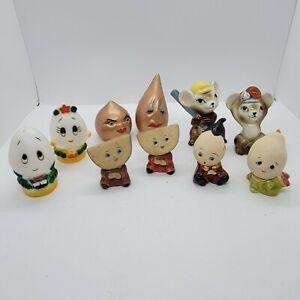 Vintage Ceramic Plastic Anthropomorphic Salt & Pepper Shakers Lot Of 5 Pairs