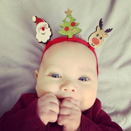 Noël Headband Baby Girls Band Pop Up Santa Renne Arbre présent Bow lot