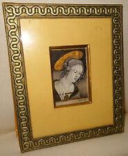 Icône ancienne peinture sur soie Sainte Marthe portrait doré à l'or