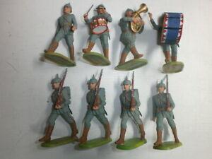 Konvolut-8-alte-Elastolin-Kunststoff-Soldaten-zu-7-5cm-Preussen-WK1-Marschzug
