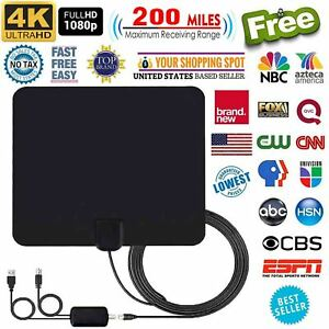 Details about SUPER HD TV Antenna Indoor / Outdoor HDTV FREE TV Channels  13ft Cable 200 Miles