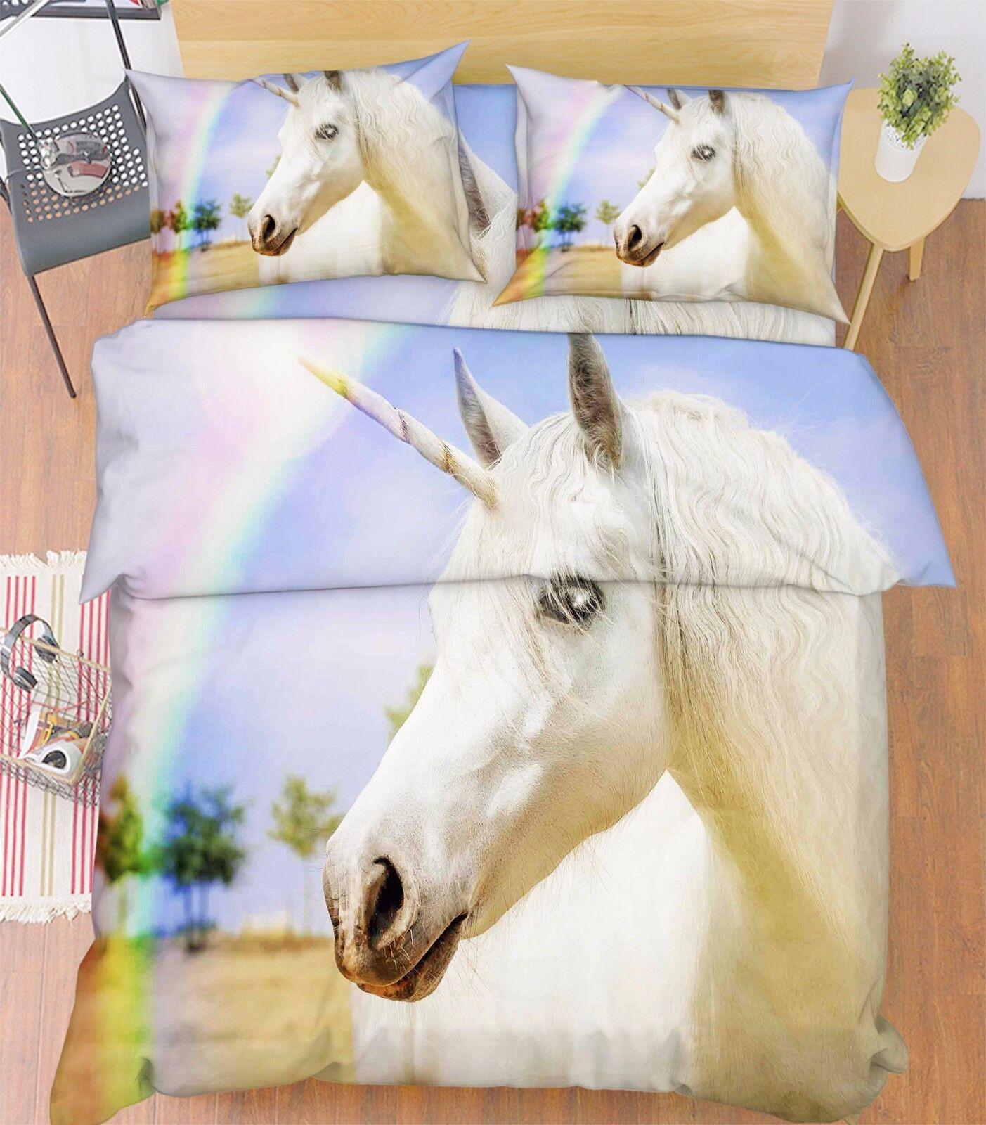 3D Rainbow Horse Bed Pillowcases Quilt Duvet Cover Set Single Queen King Größe AU